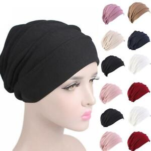 Women-Indian-Stretchy-Cotton-Chemo-Pleated-Turban-Hat-Head-Wrap-Hijab-Cap