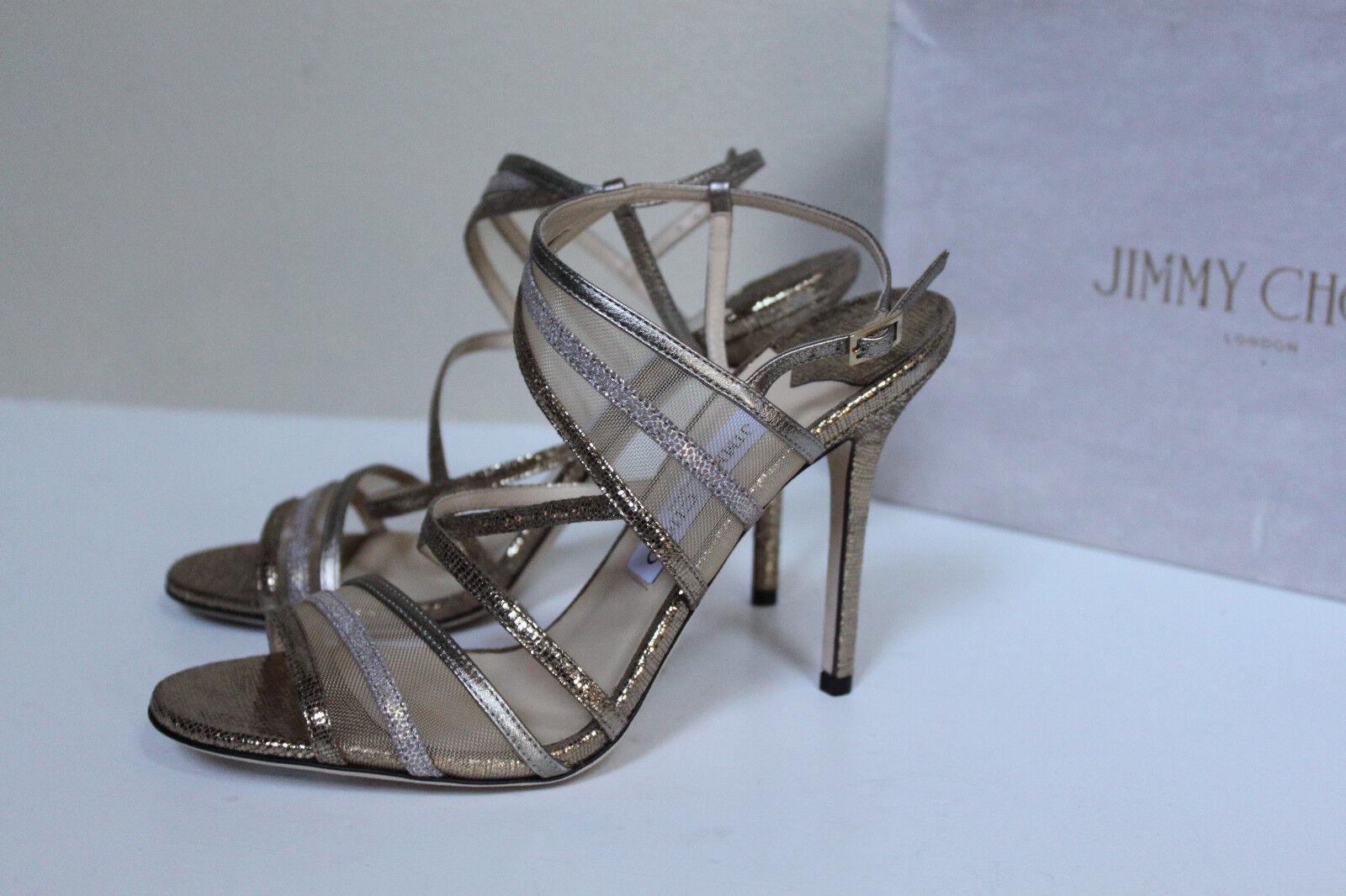 Nuevas Talla 8 38 38 38 Jimmy Choo Visby Bronce Metálico entrecruzadas de Tobillo Sandalia Zapato  de moda