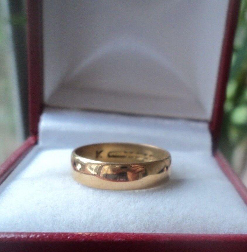 VINTAGE 22ct oro Giallo Anello Fede Fede Fede Nuziale H M 1965 BIRMINGHAM-Dimensione J b6e350