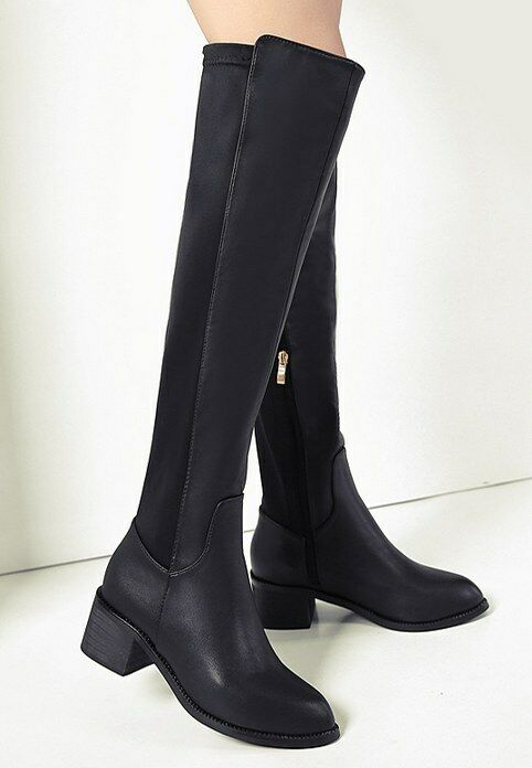 Stiefel schwarz schwarz schwarz up knie schenkel 5 cm komfortabel heiß simil leder 9277  6bce83