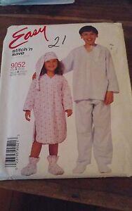 Oop-Mccalls-easy-9052-childs-nightshirt-pjs-hat-bootees-sz-2-14-NEW