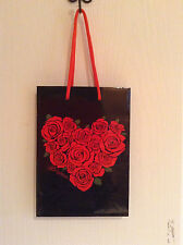 "BRIGHTON  BLACK ROSES  paper shopping LOGO  bag  GIFT TOTE 6"" X 9"""