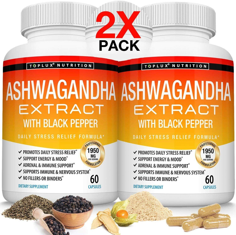 Organic Ashwagandha Capsules 1950 MG (2 PACK) with Black Pepper Root Powder