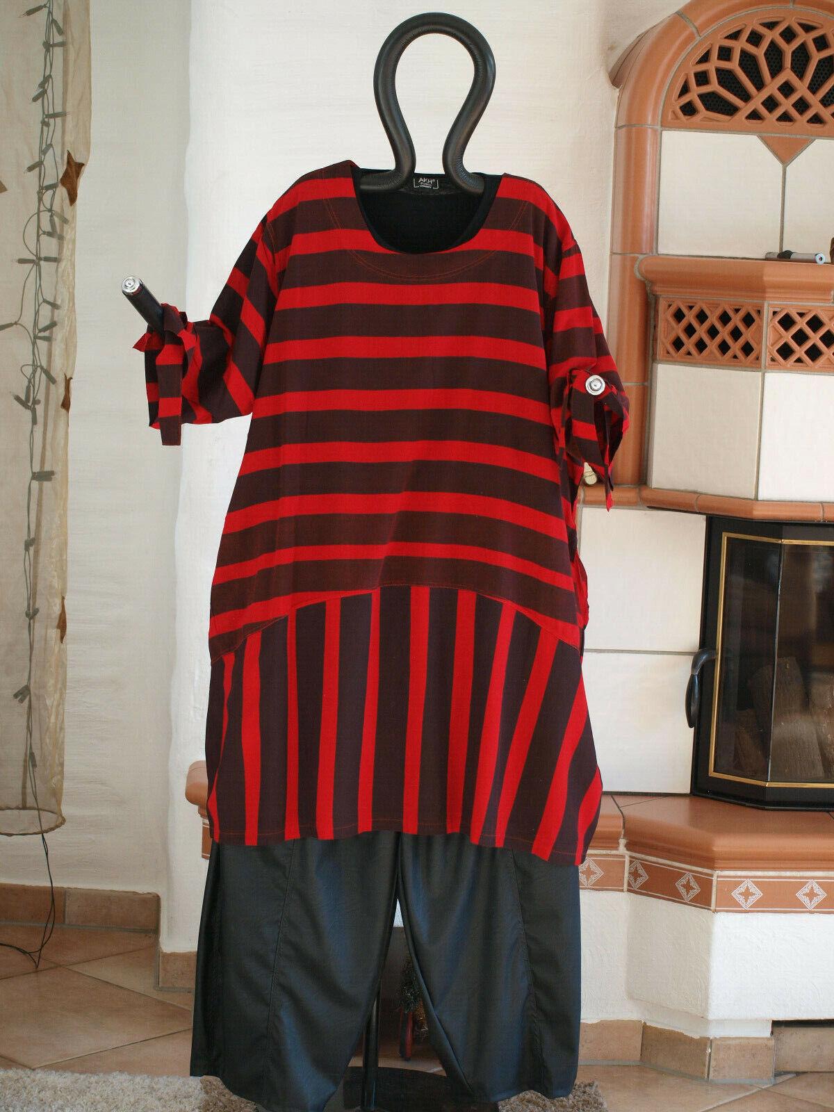 1840 LABASS Lagenlook Big Shirt Ballonform schwarz rot gestreift Gr. XL 48 50