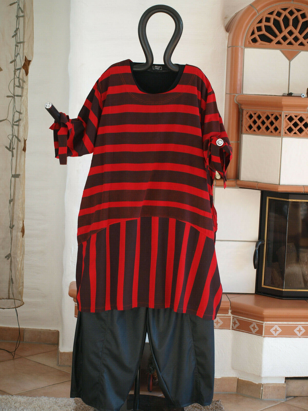 1840 LABASS Lagenlook Big Shirt Ballonform schwarz rot gestreift Gr. XXL 52 54