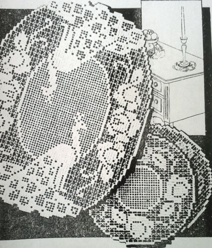 Reproduction 5726 Vintage Alice Brooks FILET PEACOCK DOILY Patterns to Crochet