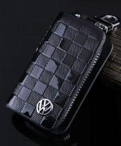 VW Volkswagen Leather Car Key Keychain Fob Case Holder Zipper Case Cover Black