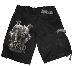 Pantaloncini neri goth spirale cargo vintage cranio a custodian croce gargoyle XAnwX0rxq