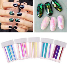 Hot Newest Broken Glass Foils Finger DIY 5Colors Nail Art Stencil Decal Stickers