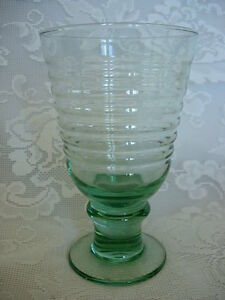 Collectible-LIBBEY-ROCK-SHARPE-Sirrus-Pattern-Lt-Sage-Green-Goblet