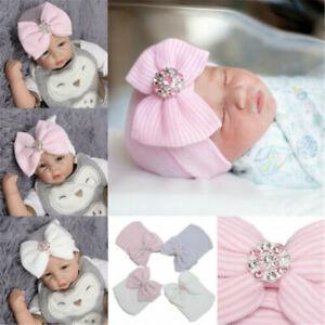 Baby Girls Boy Striped Bow Cap Infant Headband Hospital Newborn Soft Beanie Hat