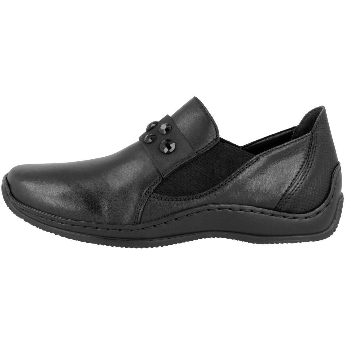 Los últimos zapatos de descuento para hombres y mujeres Descuento por tiempo limitado Rieker lugano-nablus-snake women Schuhe Damen Antiestrés Mocasines Black