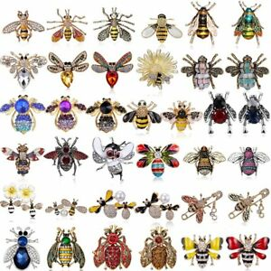 Wholesale-Insect-Bee-Pearl-Crystal-Fashion-Enamel-Brooch-Pin-Womens-Jewellery