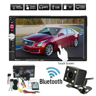7'' HD Touch Screen 2Din Car Radio MP5 MP3 FM AUX Player Bluetooth USB w/ Camera