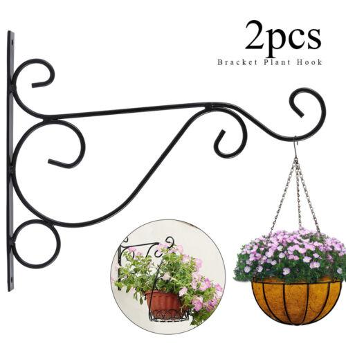2x Hanging Plant Bracket Wall Planter Hook Flower Pot Feeder Hanger Decor Bird