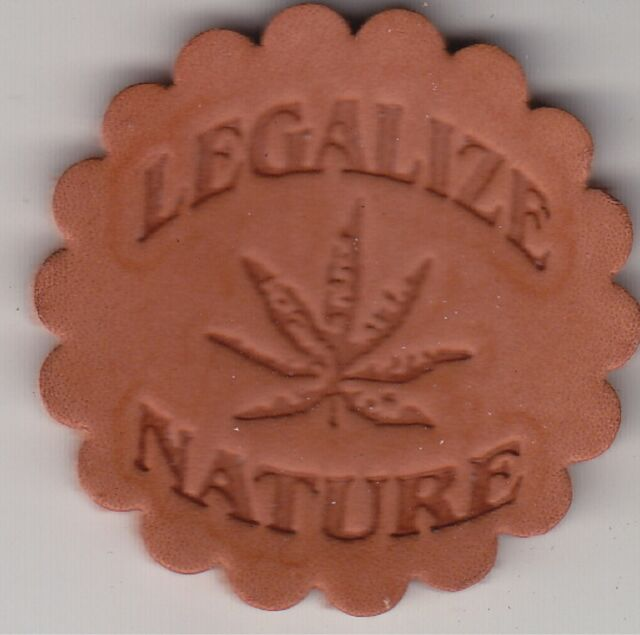 Cannibis Culture LEGALIZE NATURE stamp. Delrin laser engraved clicker stamp