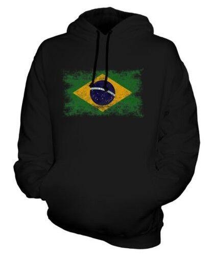 Brasilien Distressed Flagge Unisex Kapuzenpulli Top Fußball Brasilianischer