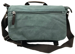 9b2a843755bb Sage Green 14 to 15 Laptop Notebook Tablet Canvas Messenger   Bag ...