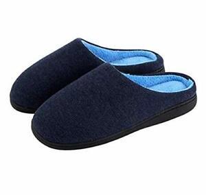 Men-039-s-Indoor-Outdoor-Comfort-Memory-Foam-Cotton-House-Slippers-11-12-Wide-Navy