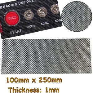 Matte Black Real Carbon Fiber Twill Sheet Panel Plate Plain 1mm x 100mm x 250mm