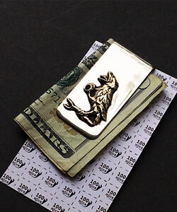 Grateful Dead - Raven Money Clip in Nickle Silver & Yellow Brass