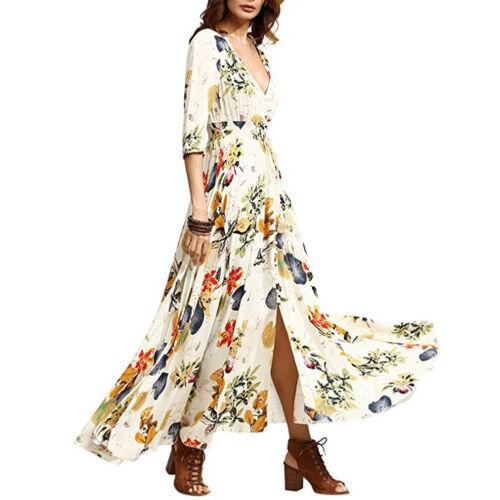 Women Floral Print Party Maxi Long Dress Button up Split Beach Boho V-neck Gown
