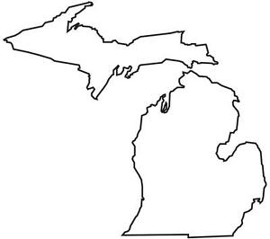 COOL BLANK MICHIGAN STATE MAP GLOSSY POSTER PICTURE PHOTO red