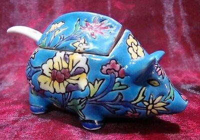 Tisch & Tafel Haushalt & Küche Senftopf Schwein Blume Art Deco Stil Art Nouveau Jugendstil Stil Porzellan Ename