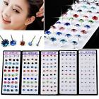 Wholesale 40pcs Lots Silver Stamped Crystal Ear Stud Pin Earring WIth Box