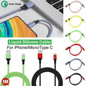 1M Silicone Micro USB Tipo C Rapida Caricabatteria Cavo Dati Per iPhone Samsung