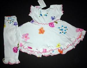 NWT New INDYGO Artwear White Bouquet Flower Dolly Dress Top Pants 2pc Set 2T
