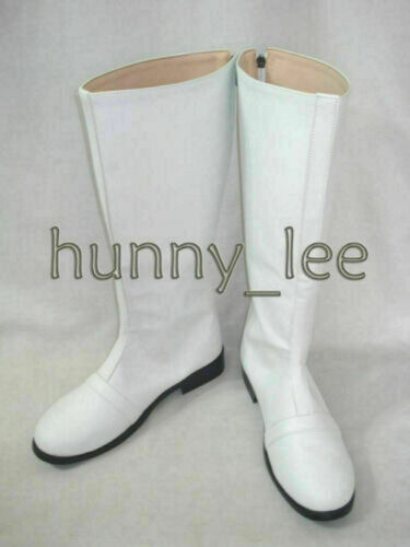 White SPD Ranger Cosplay Shoes Boots Custom-Made with Vertical Stripe