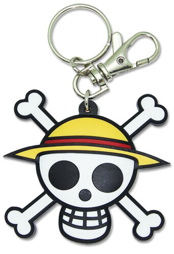 **Legit** One Piece PVC Keychain Straw Hat Pirate Luffy Jolly Roger Skull #4802
