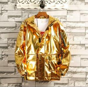Details zu Gr.S 3XL Kapuzenjacke Herren Shiny Metallic Hipster Night Club Jacken tanzen Neu