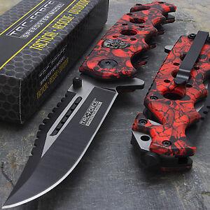 """8.25"""" RED SKULLS SPRING ASSISTED TACTICAL FOLDING KNIFE Pocket Blade Assist Open"""