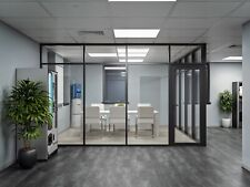 Cgp Glass Aluminum 2 Wall Office Partition System Withdoor 15x6x9 Black
