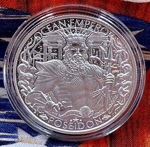 LOST CITY OF ATLANTIS Antiqued rounds .999 fine silver 1 oz POSEIDON