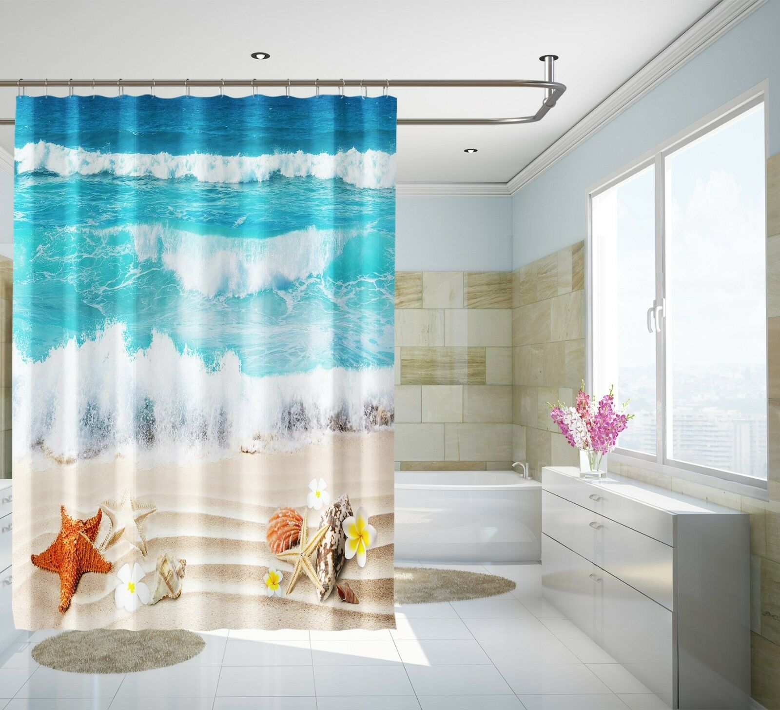 3D Beach Scenery 14 Shower Shower Shower Curtain Waterproof Fiber Bathroom Home Windows Toilet 7db831