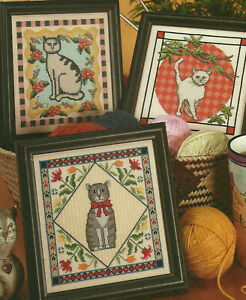 Fancy-Felines-3-Cats-Kitties-Counted-Cross-Stitch-Pattern-Charts-from-a-magazine