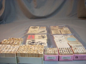 Huge-Lot-Of-146-Wooden-Rubber-Stamps-Stamping-Scrapbooking-Great-Set