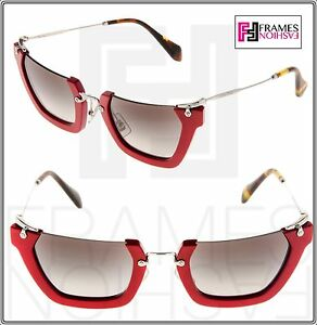 5028129b130 MIU MIU WINK Rasoir Cat Eye Square MU12QS Red Silver Sunglasses 12Q ...