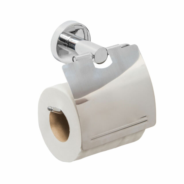 Chrome Toilet Roll Tissue Paper Dispenser Holder with Cover Wall Mounted