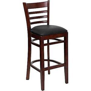 A5803 Flash Furniture Hercules Mahogany Wood Ladder Back Restaurant Bar Stool Bl