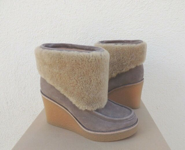 97bf240e1f1 UGG COLDIN Mouse Suede Sheepskin Cuff Wedge Ankle BOOTS US 11/ EUR 42