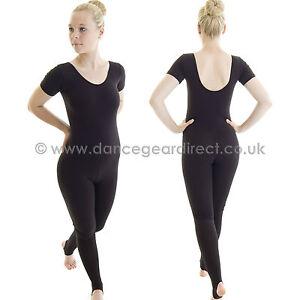 Katz Dancewear Girls Ladies Black Lycra Long Sleeve Footless Catsuit Unitard KDC017