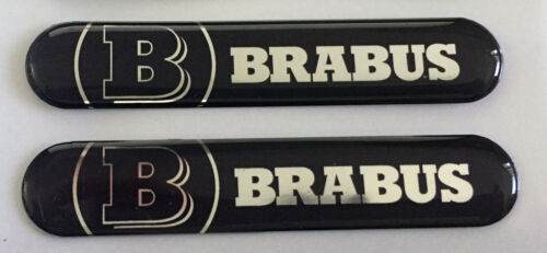 Size 80x15mm. 2x MERCEDES BRABUS 3D Domed Stickers