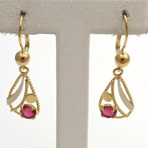 Image Is Loading New 18k Gold Italy July Birthstone Ruby Dangle