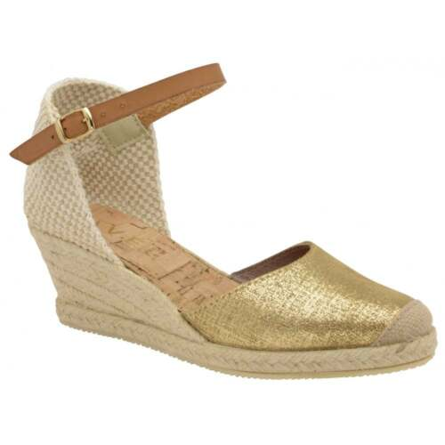 Suede Insoles amp; Ravel Gold Buckle With Sandal Etna Cork Wedge Fasten Espadrille FxROtwa