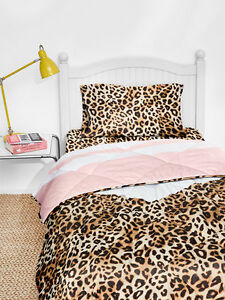 Details about Victoria\'s Secret PINK Twin XL Reversible Comforter Sheet Bed  in Bag Set Leopard