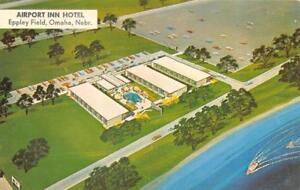 OMAHA-NE-Nebraska-AIRPORT-INN-HOTEL-Eppley-Field-ROADSIDE-Artist-039-s-Postcard